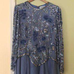 Beautiful Blue Beaded Vintage Silk Dress, Size 12